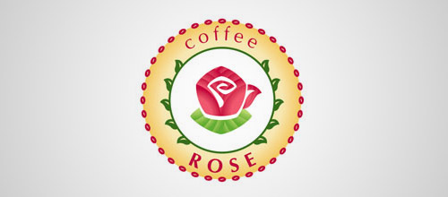 coffee rose logo design
