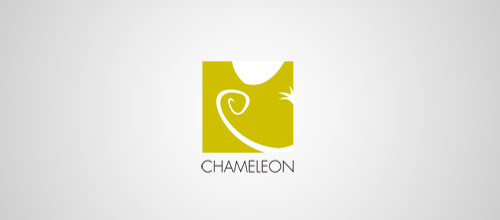 chameleon logo design yellow