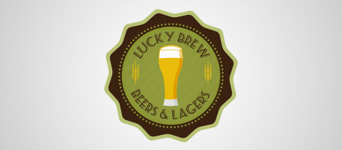 lucky brew beer logo designs