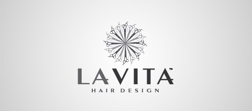 la vita scissors logo design
