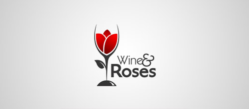 wine rose logo design
