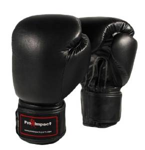 Pro Impact 16 Oz. Pro Genuine Leather Black Boxing Gloves