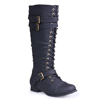 Twisted Women's Trooper Military Knee-High Calf Boot