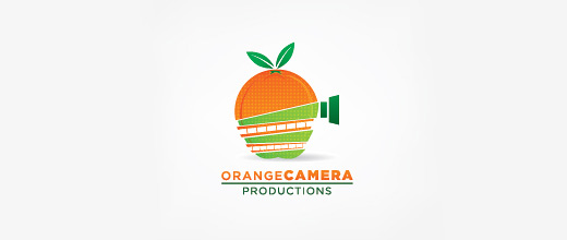 Camera film production orange logo design