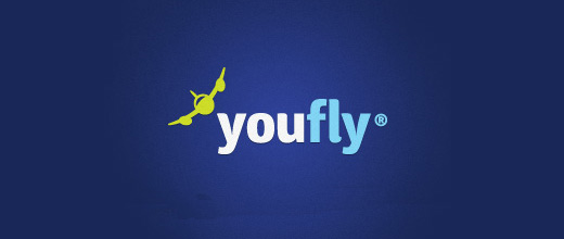 Fly ticket airplane logos design
