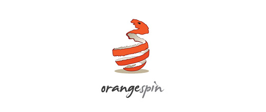 Fruit spin spiral skin orange logo design