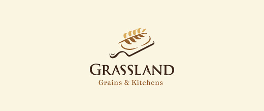 Grassland grains bread logo designs collection