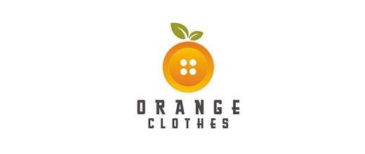 Button clothes orange logo design