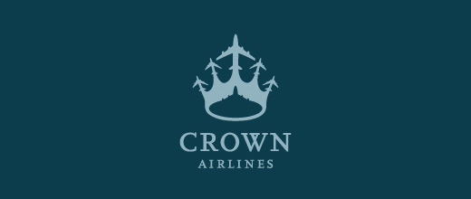 Crown airplane logos design
