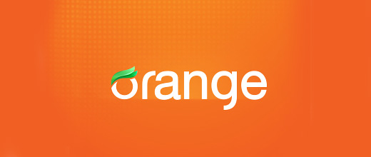 Typography orange logo design