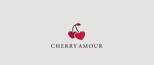 Heart cherry logo designs