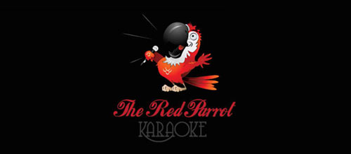 Red Parrot Karaoke logo designs