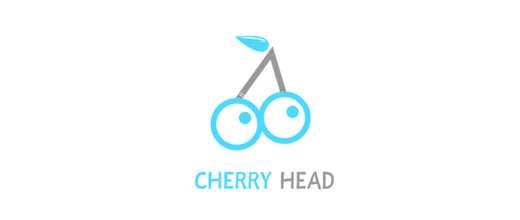 Eyes blue cherry logo designs