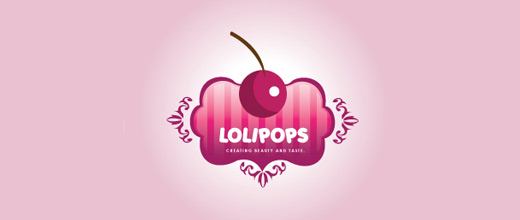 Lollipop pink cherry logo designs