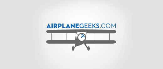 Geek airplane logos design