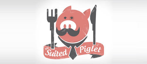 The suited piglet logo designs