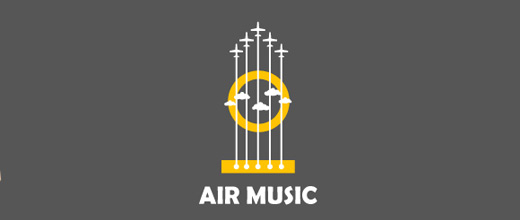Guitar music airplane logos design