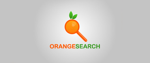 Magnifying glass search orange logo design
