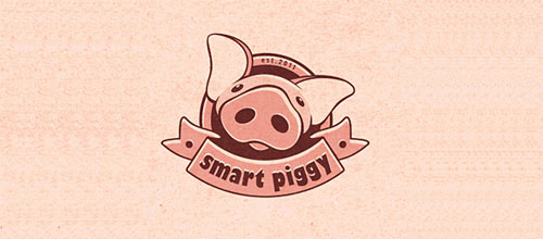 Smart piggy logo designs