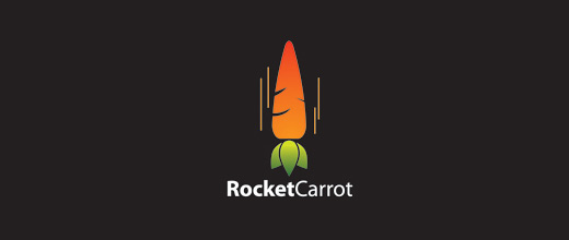 Flying rocket carrot logo design collection