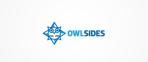 Owl compass logo design collection blue