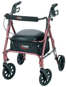 Carex Rolling Walker/ Rollator including Padded Seat