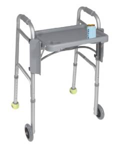 Drive Medical Deluxe Gray Tray Folding Walker