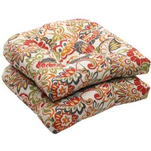 Pillow Perfect Modern Floral Outdoor Indoor Wicker Seat Cushions