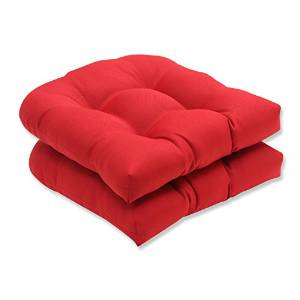Pillow Perfect Red Solid Outdoor Indoor Wicker Seat Cushions