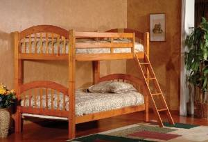 King's Brand Furniture B125H Wood Arched Design Convertible Bunk Bed