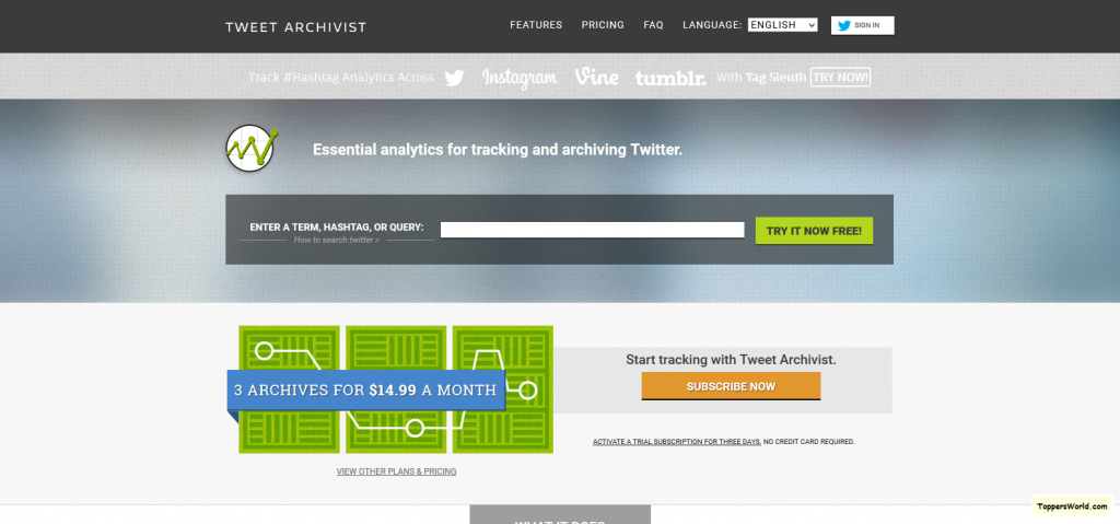 Tweet Archivist - Simple Powerful Affordable Twitter Analytics